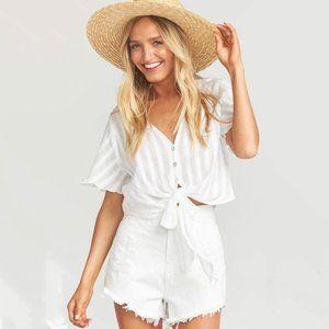 White denim shorts show me your Mumu Wyoming high